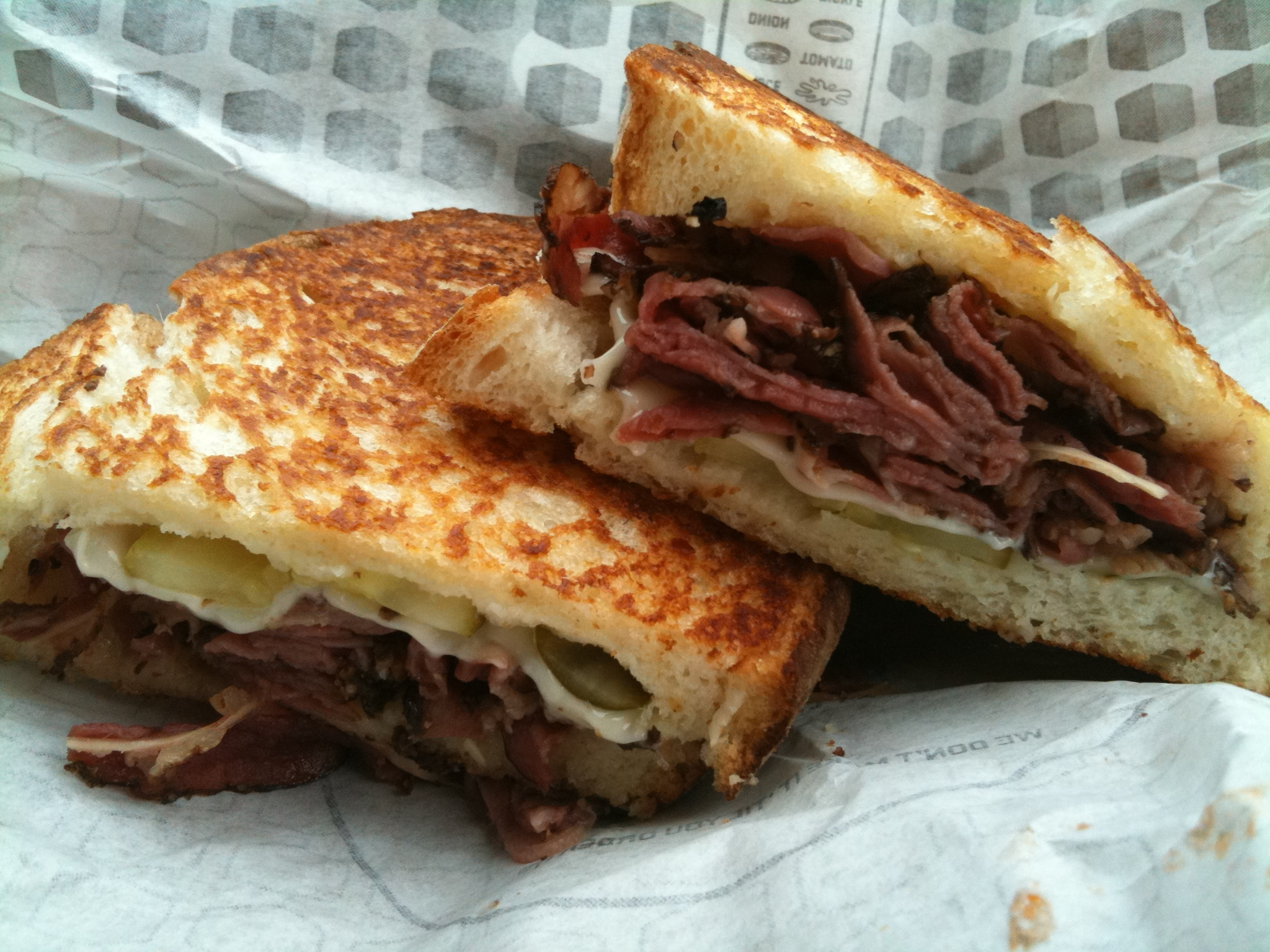 pastrami grilled sandwich pastrami melted swiss and pickle strips on ...